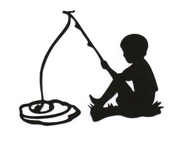 570x478 Boy Fishing Child Silhouette Die Cut For Scrap Booking Or Card