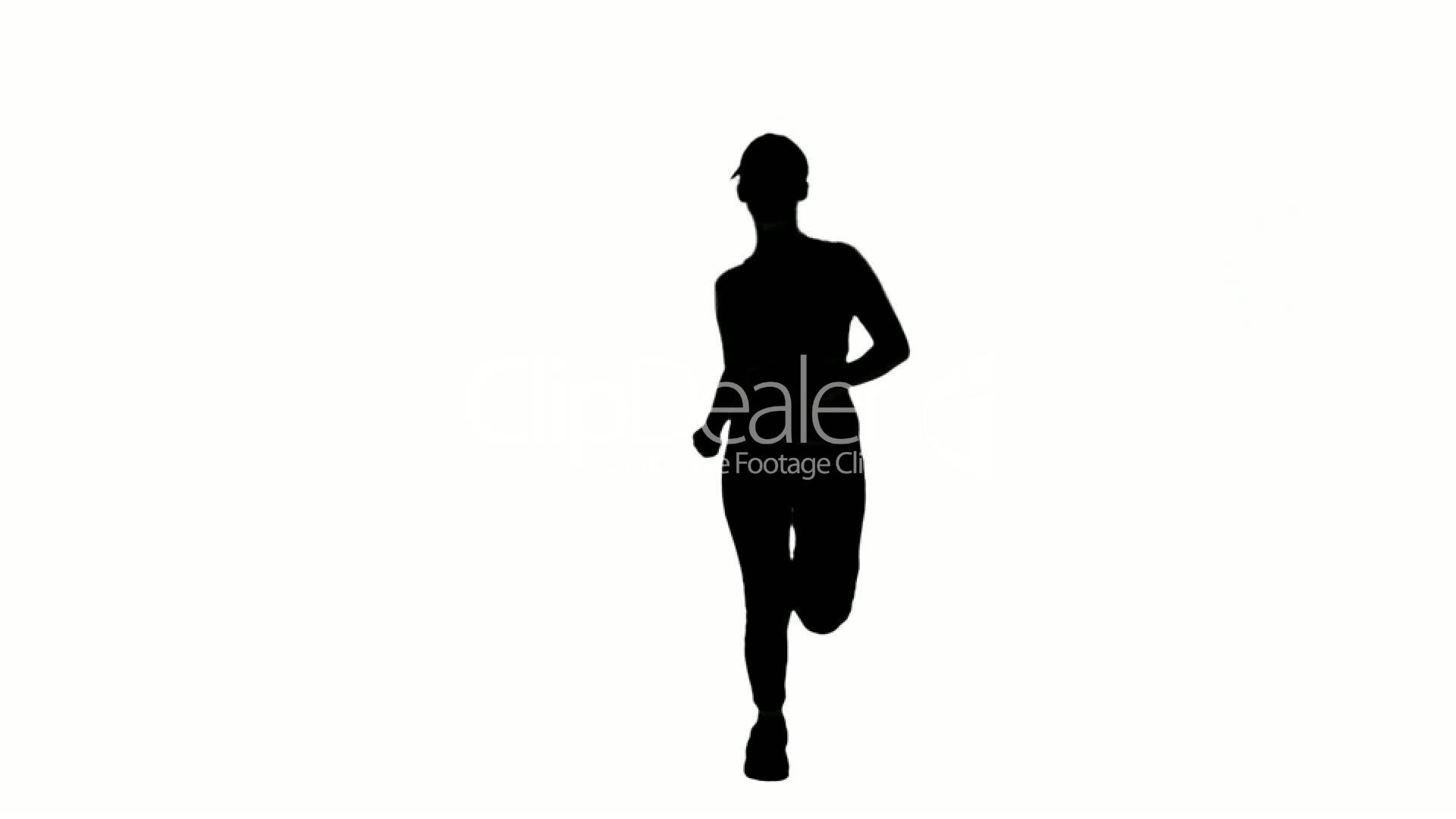 1920x1080 Silhouette Of Woman Running On White Background Royalty Free