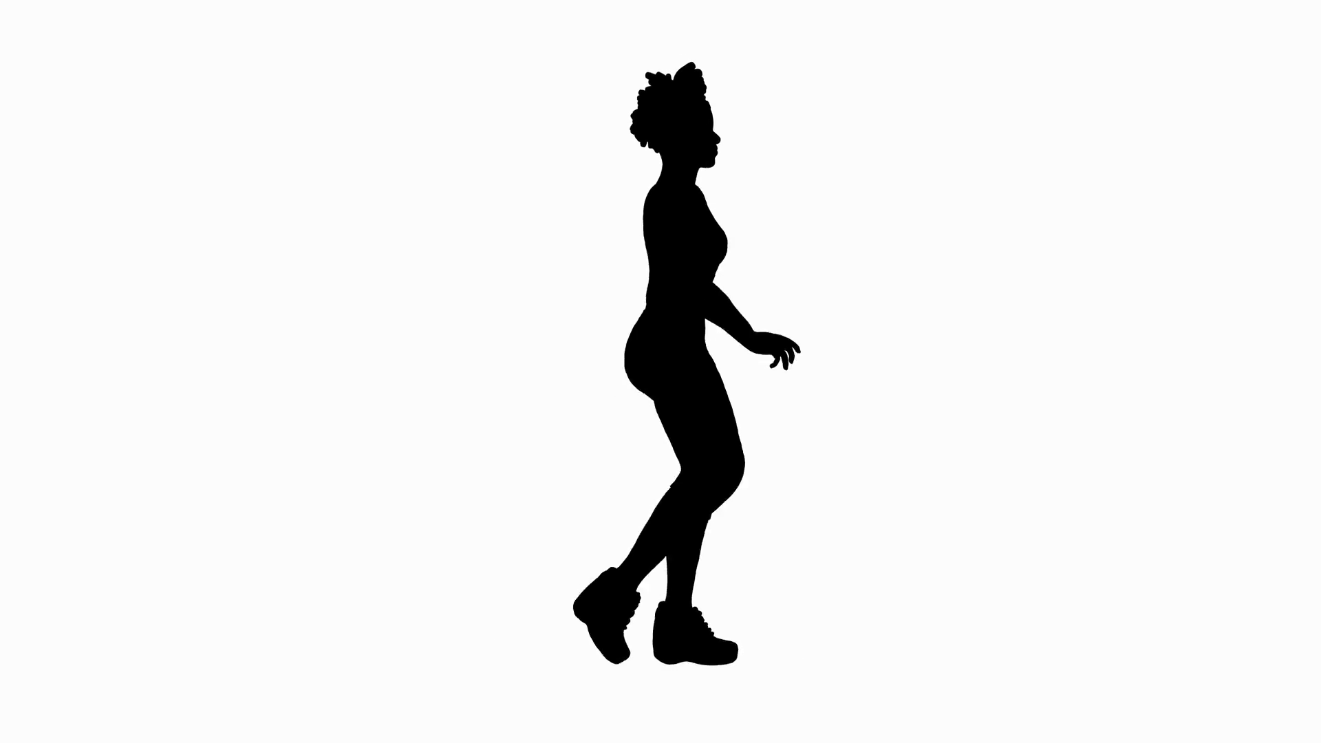 1920x1080 Animated Silhouette Of A Walking Woman. Includes Alpha Channel