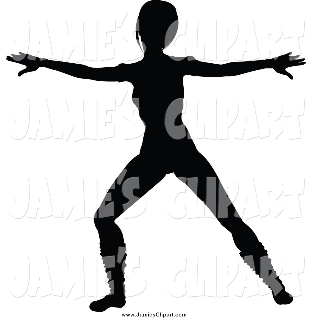 1024x1044 Clip Art Of A Silhouetted Fit Woman In An Aerobics Pose By