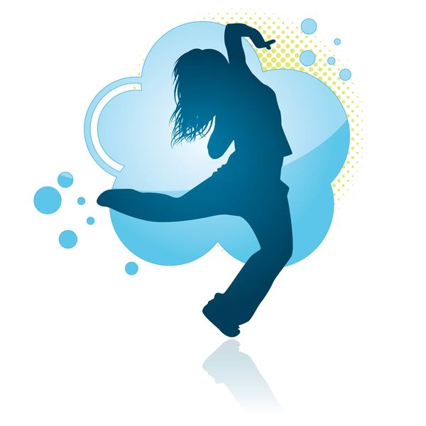 600x600 Fitness Dance Blue Silhouette Vector Material 06