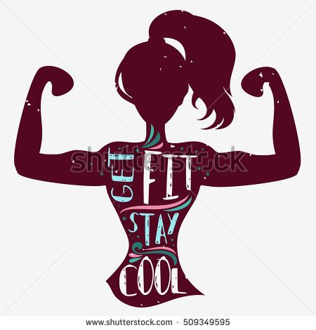 450x470 Get Fit. Stay Cool. Motivational And Inspirational Illustration