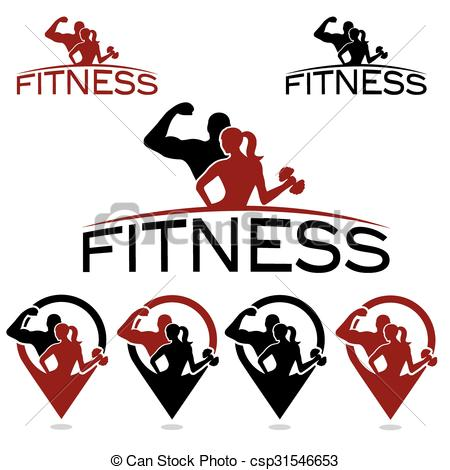 450x470 Man And Woman Of Fitness Silhouette Character And Pins Clipart