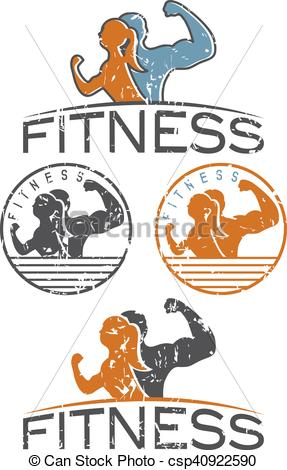 287x470 Man And Woman Of Fitness Silhouette Character Grunge Emblems