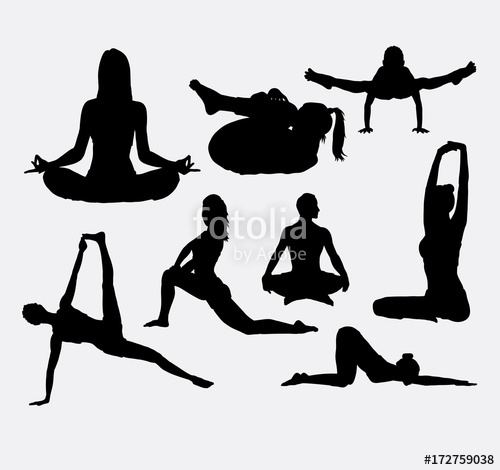 500x470 People Yoga And Acrobat Sport Silhouette. Good Use For Symbol