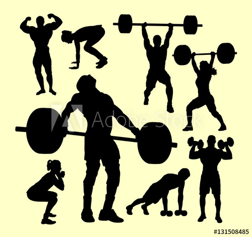 500x471 Fitness, Gymnastic, Body Building, Weightlifting Sport Silhouette
