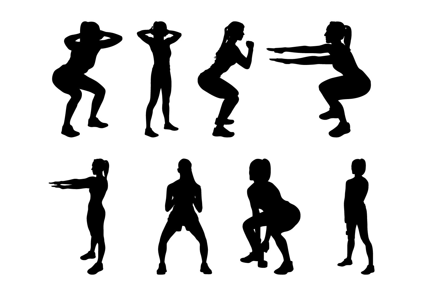 1400x980 Fitness Silhouettes Vector
