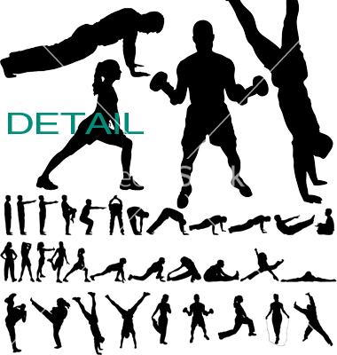 380x400 17 Exercise Silhouette Vector Images