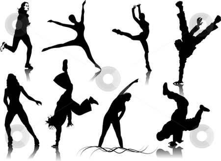 450x329 Fitness Women Silhouettes Stock Vector