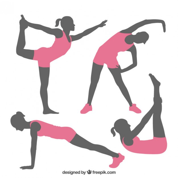 626x626 Fitness Poses Silhouettes Vector Free Download