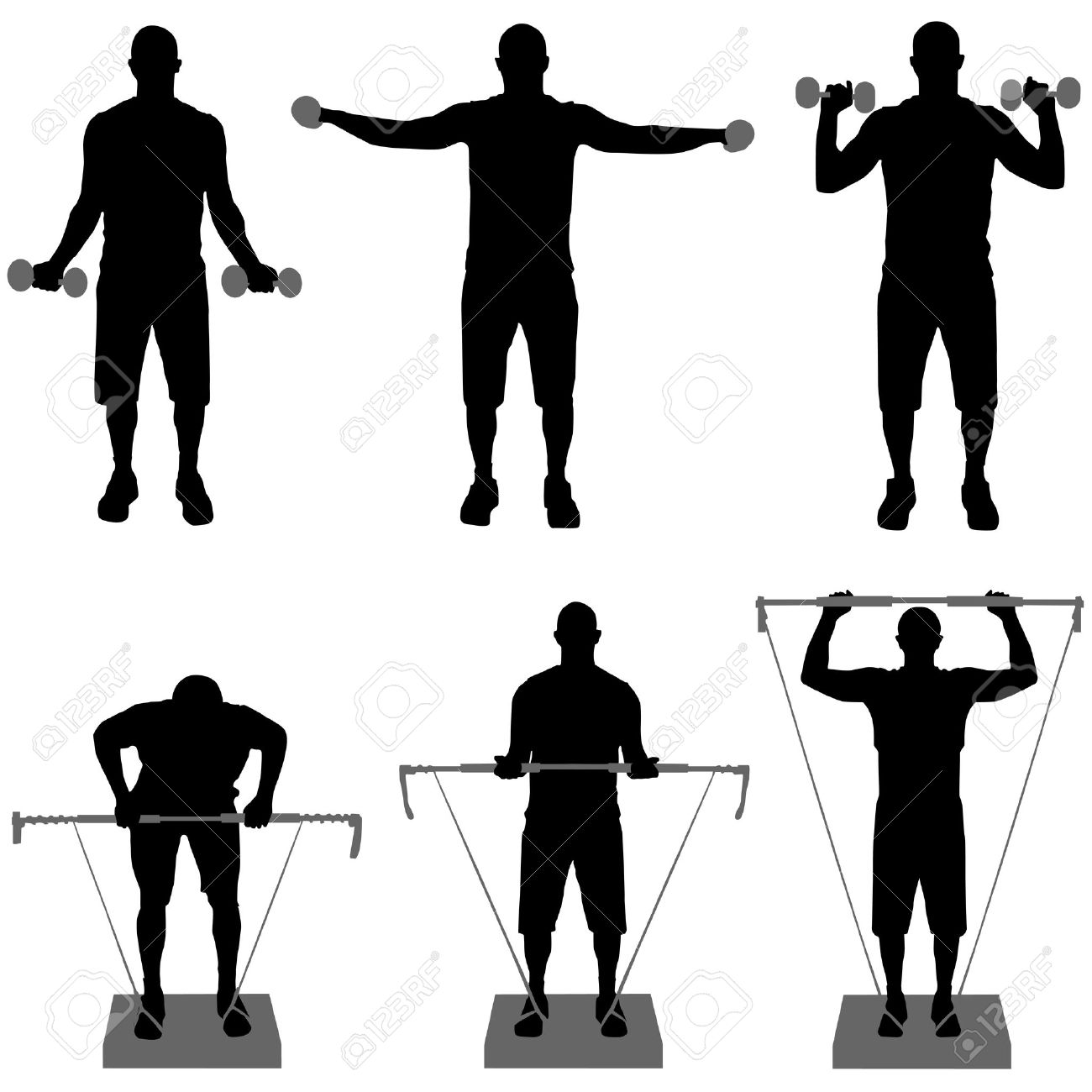 1300x1300 Gym Fitness Silhouette Clipart