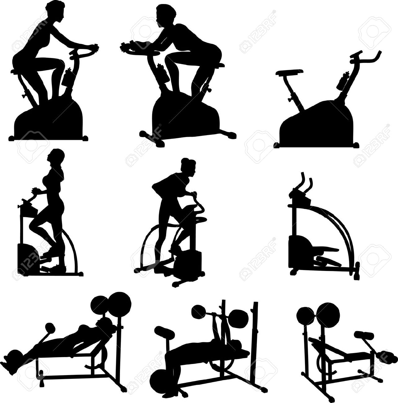 1284x1300 4454911 Female Excercise Silhouettes Gym Exercise Fitness