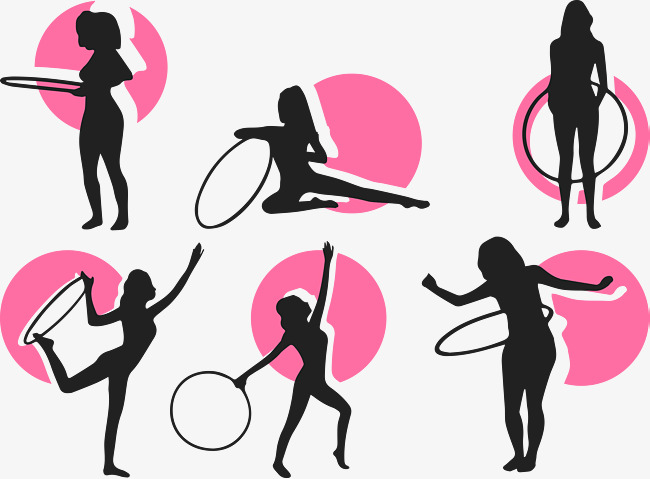 650x479 Rhythm Fitness Vector, Pink, Silhouette, Hula Hoop Png And Vector