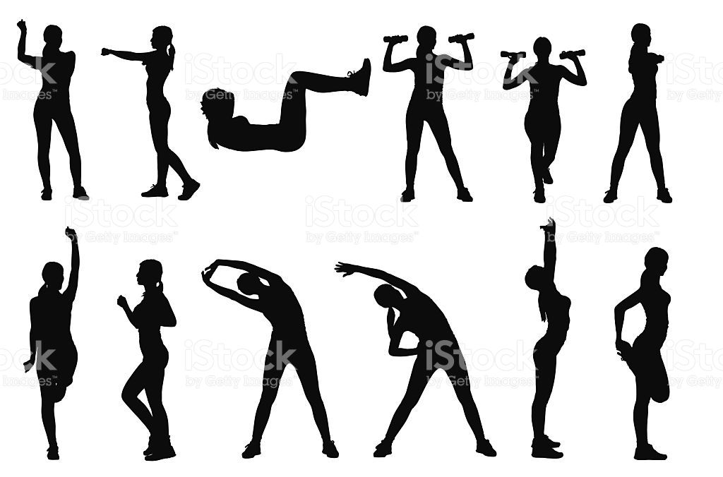 1024x676 Set Or Collection Of Various Woman Sports Exercising Silhouettes