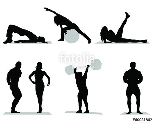 500x400 Silhouettes Of Fitness Bodybuilding,vector Stock Image