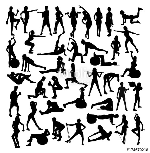 489x500 Woman Sport, Fitness And Gym Activity Silhouettes, Art Vector