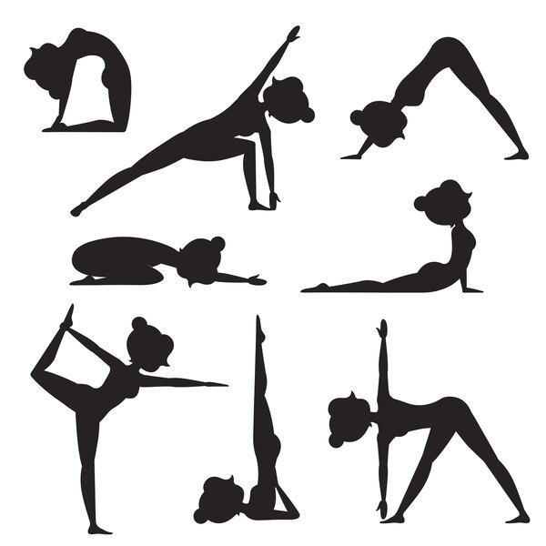 600x600 Women Workout Silhouette Vector Material 03