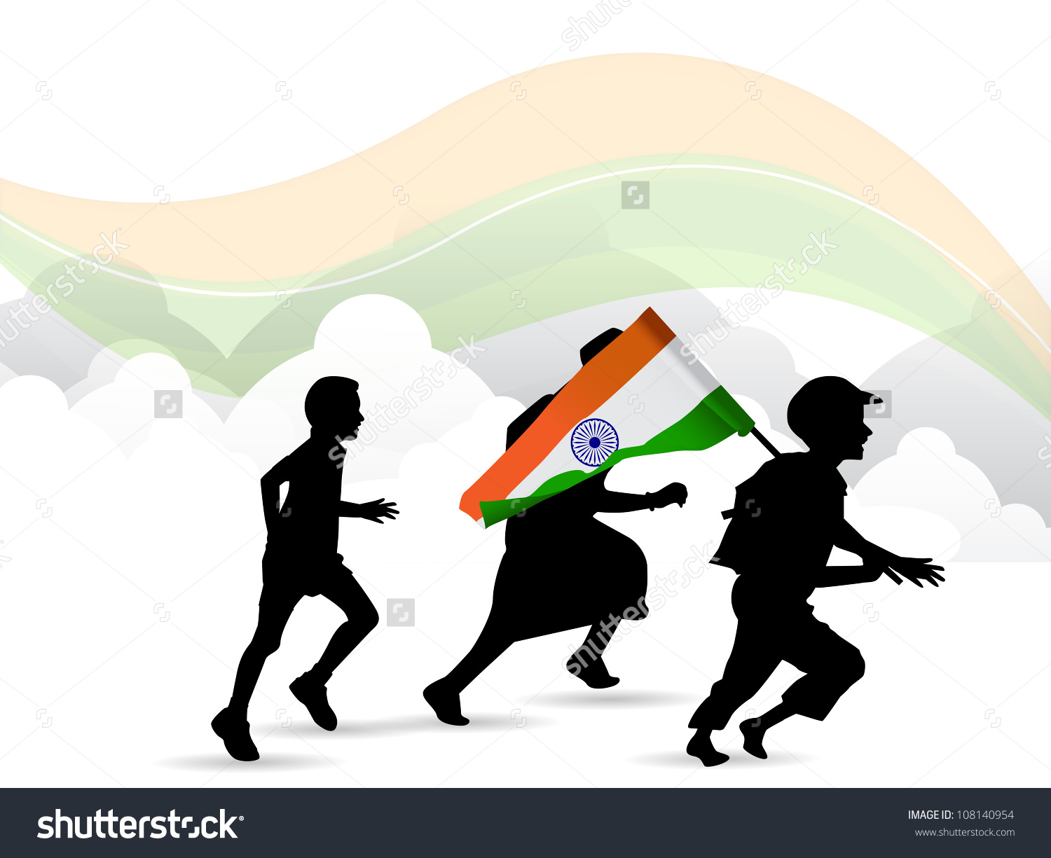 1500x1225 Indian Flag With Children Clipart