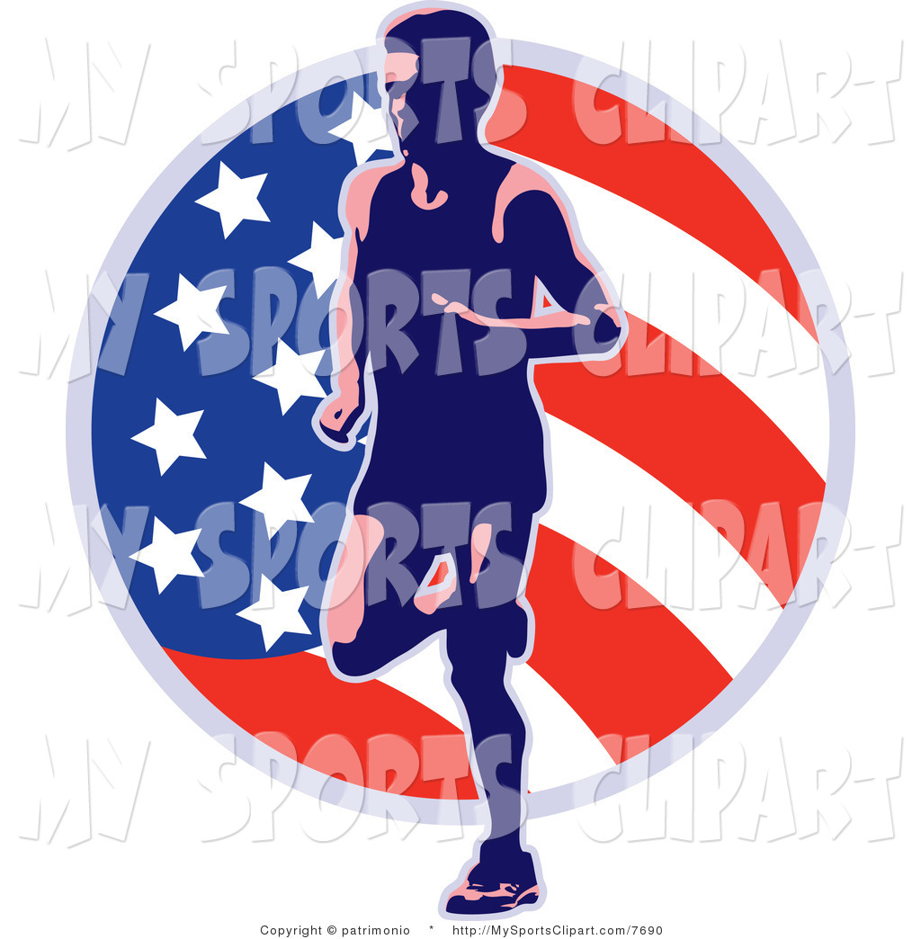 1024x1044 Runner Clipart Sports Clip Art Of A American Runner And Flag By