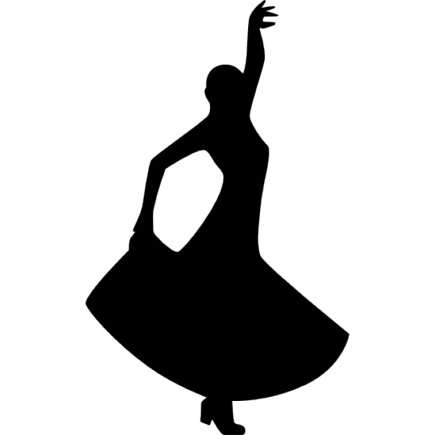 626x626 Flamenco dancing silhouette of a woman Icons Free Download