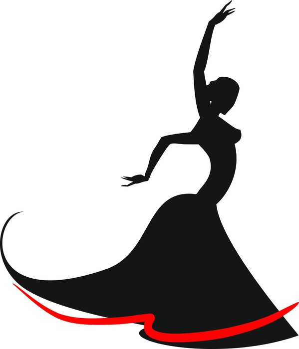 599x700 Silhouette of flamenco dancer Sticker • Pixers® • We live to change