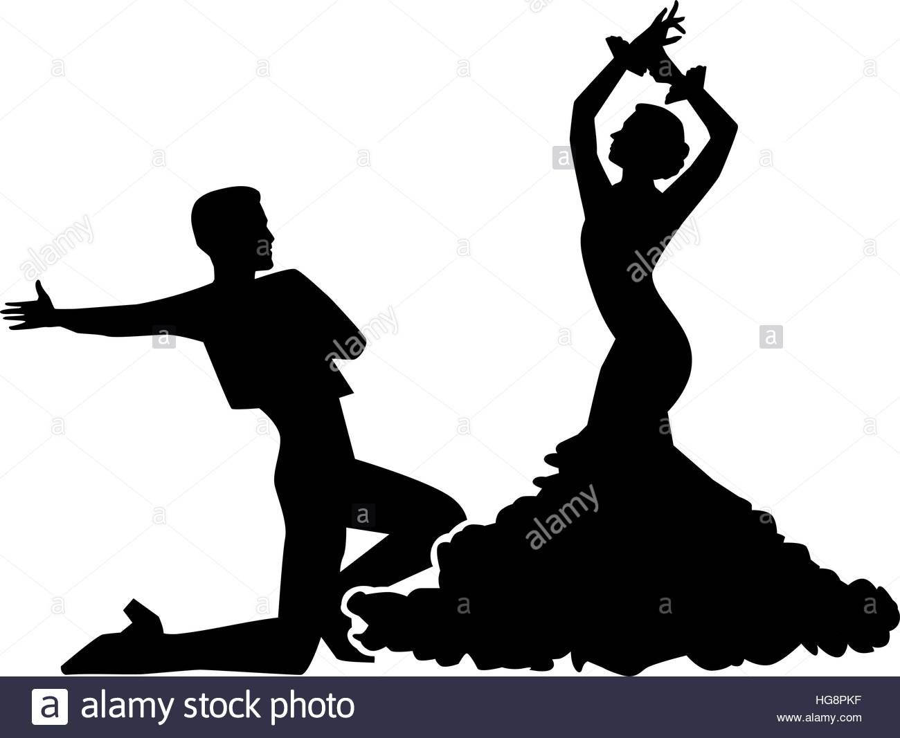 1300x1067 Silhouette of flamenco dancing couple Stock Vector Art