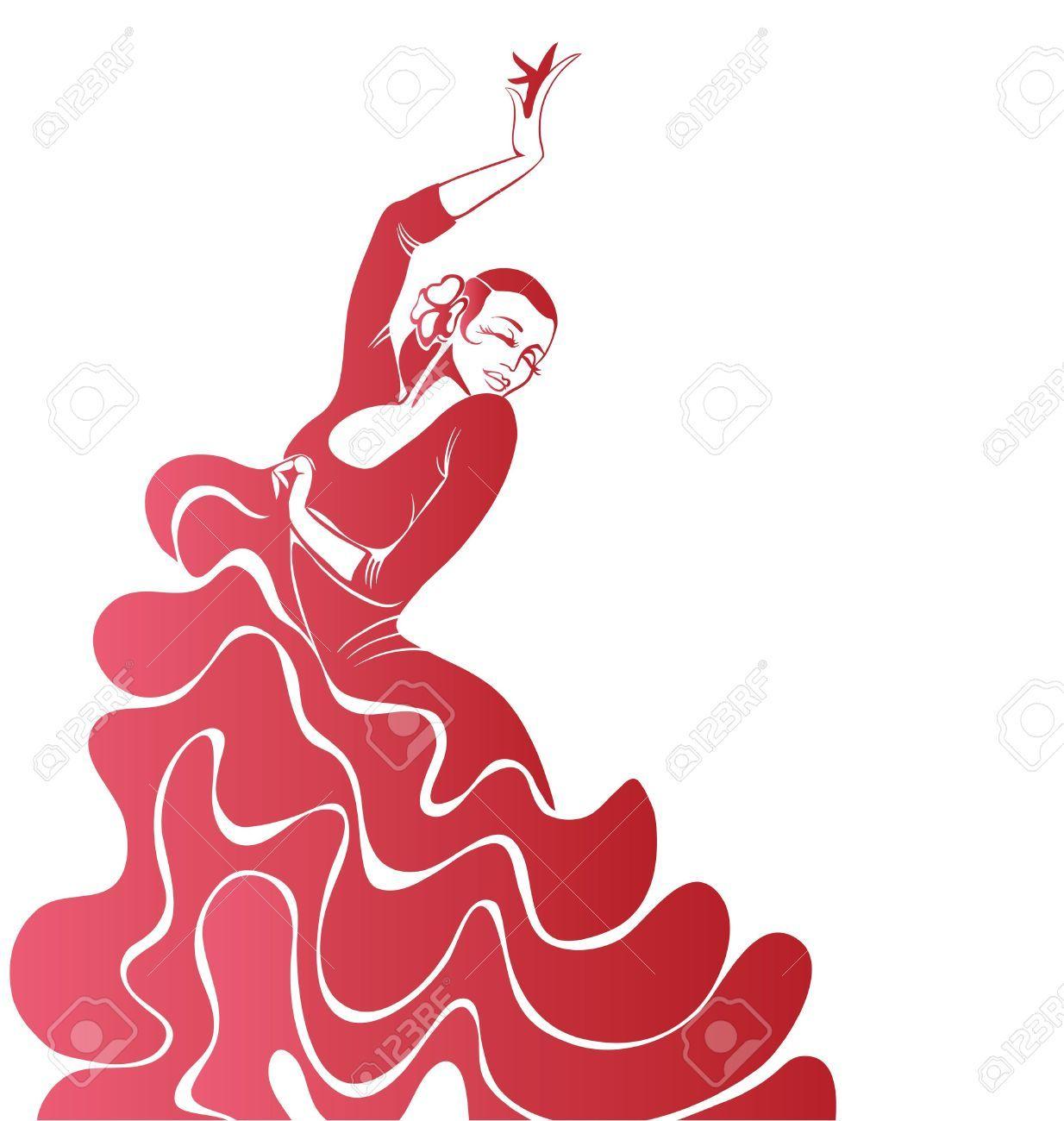 1234x1300 Stilized Silhouette Of Spanish Flamenco Dancer Women Royalty Free