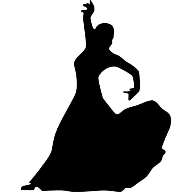 626x626 Female flamenco dancer silhouette Icons Free Download