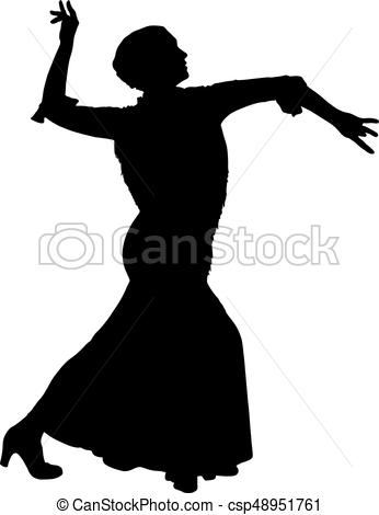 346x470 One Black Silhouette Of Female Flamenco Dancer On The White