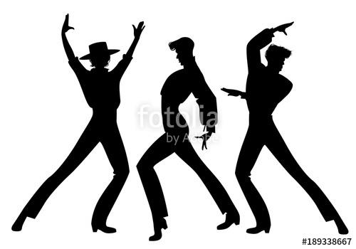 500x350 Silhouette Of Three Typical Spanish Flamenco Dancers. Elegant Men
