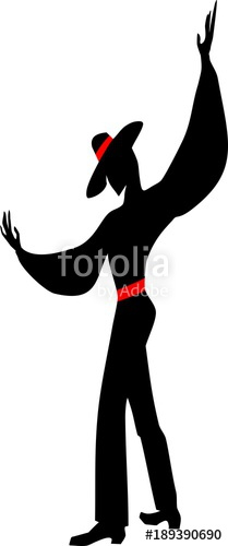 209x500 Stylized Silhouette Of A Male Flamenco Dancer In A Hat And