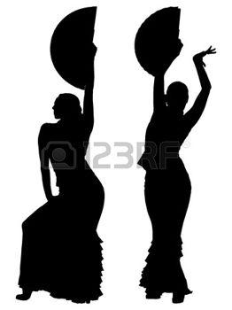 262x350 Dos Siluetas Negras De Mujer Bailarina De Flamenco Photo