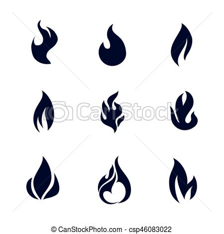 450x470 Fire Flames Black Silhouettes. Different Dark Fire Icons Vector