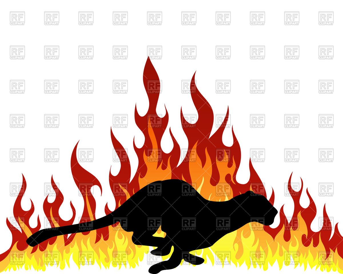 1200x960 Puma Silhouette With Flame Tongues Royalty Free Vector Clip Art