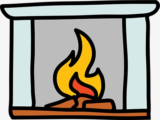 512x387 Stick Figure Fireplace, Cartoon Fireplace, Yellow Flames