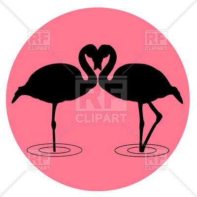 400x400 Flamingo Silhouette On The Sunrise Royalty Free Vector Clip Art