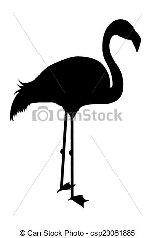 306x470 Illustration, Silhouette Of A Flamingo Bird Isolated On Stock