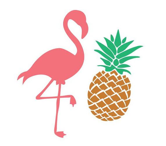 570x504 Pineapple Svg, Pineapple Monogram Svg, Pink Flamingo Svg, Pink