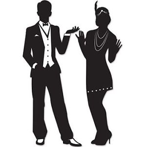 299x300 Great Roaring 1920's Silhouettes 2 Pack 20s Flapper Girl And Man