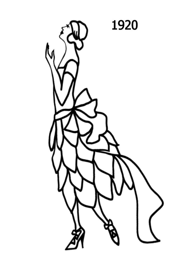 700x1000 Silhouette Line Drawing Of Party Dress With Skirt Of Separate