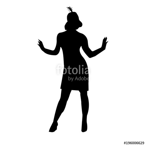 500x500 Black Flapper Silhouette On White Background Stock Image