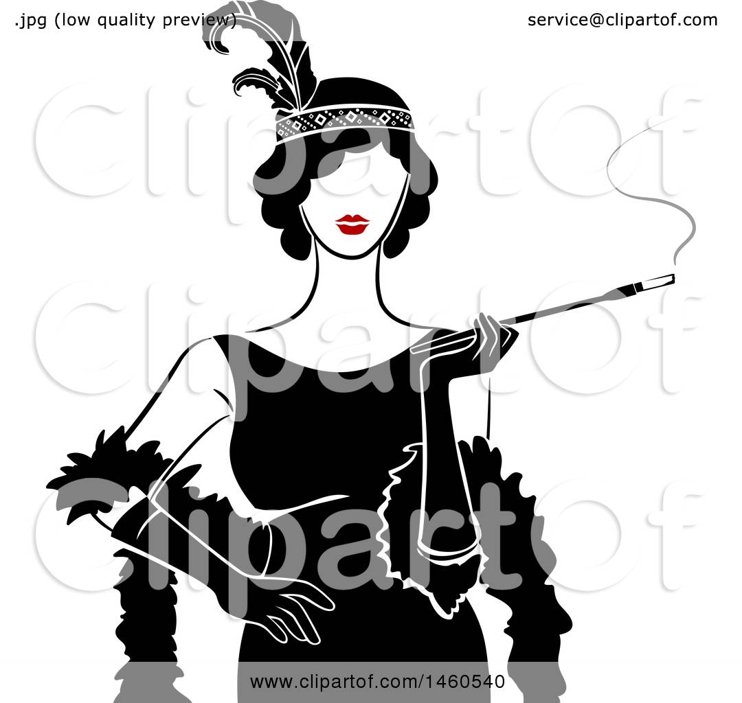 1080x1024 Clipart Of Retro Flapper Girl Woman Holding Cigarette On