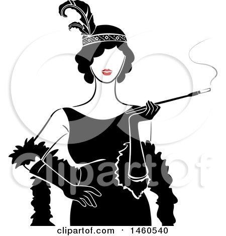 450x470 Clipart Of A Retro Flapper Woman In Profile