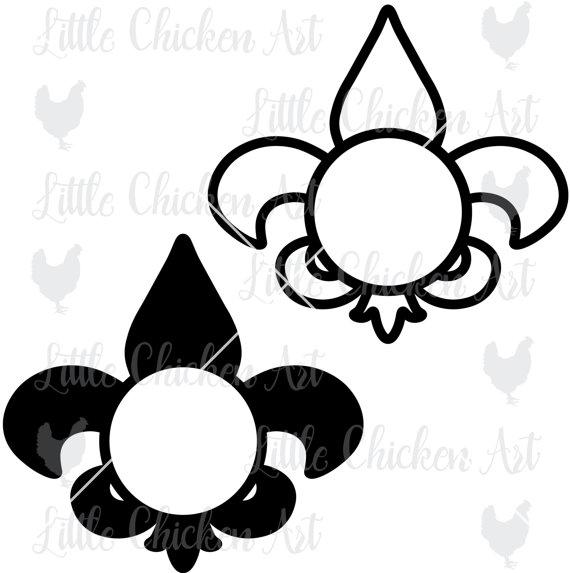 570x573 Fleur De Lis Monogram Frame Set, Cut File, Clip Art, Silhouette