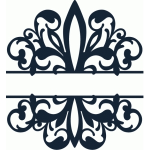 300x300 Split Wide Fleur De Lis Damask Flourish Silhouette Design