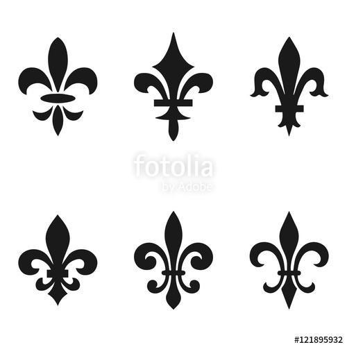 500x500 Collection Of Fleur De Lis Symbols, Black Silhouettes