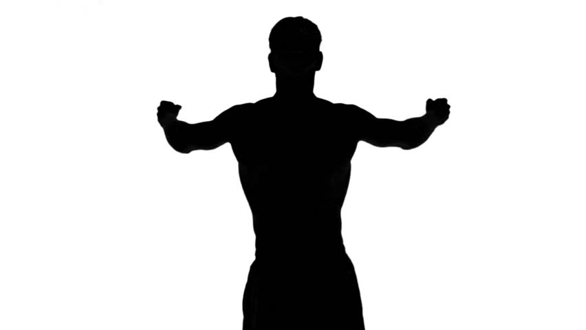 852x480 Muscular Silhouette Of Man Flexing Muscles On White Background