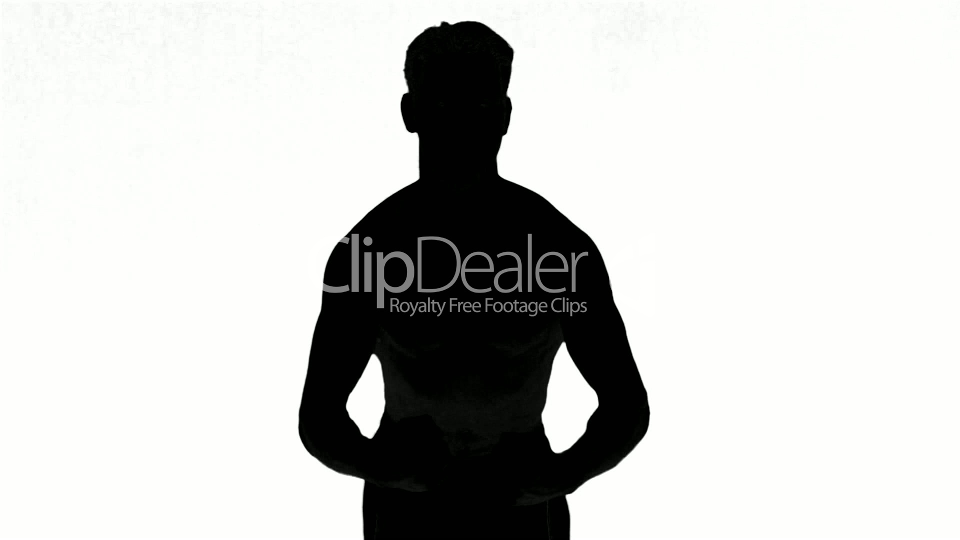 1920x1080 Silhouette Of A Man Tensing Muscles On White Background Royalty