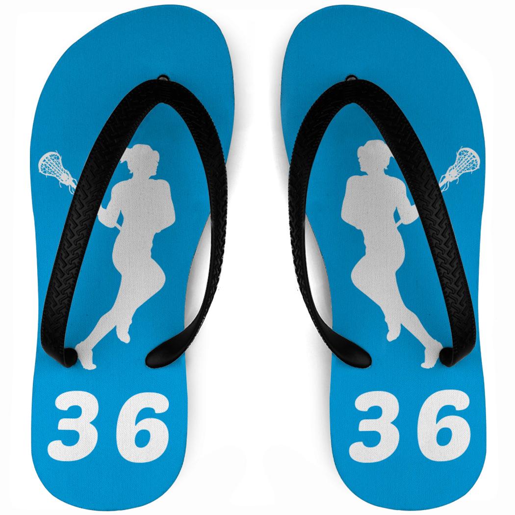 1050x1050 Girls Lacrosse Flip Flops Personalized Female Silhouette