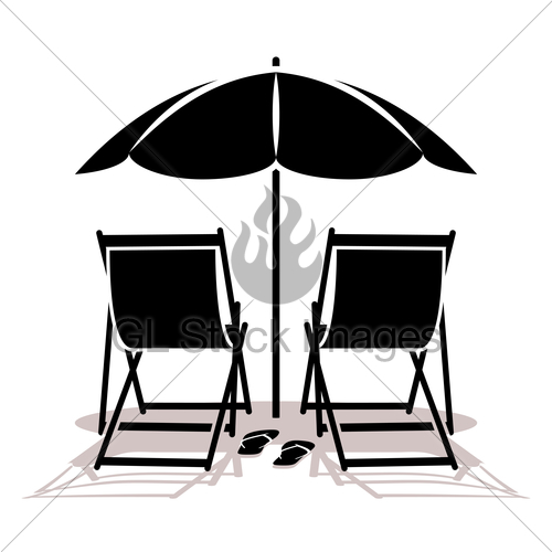 500x500 Beach Umbrella And Deck Chairs Gl Stock Images